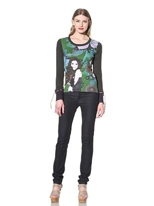 Desigual Women's Long Sleeve Printed Tee (Green)