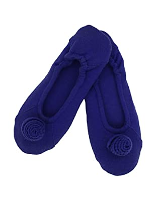 a&R Cashmere Slippers with Flower, Cobalt