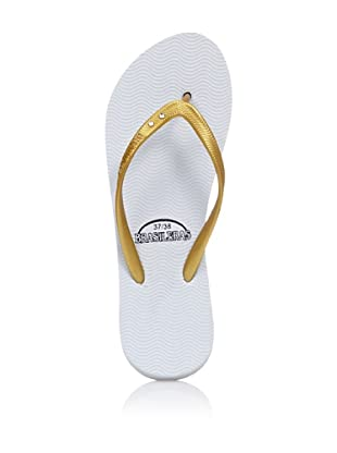 Brasileras Chanclas Thin (Blanco / Oro)