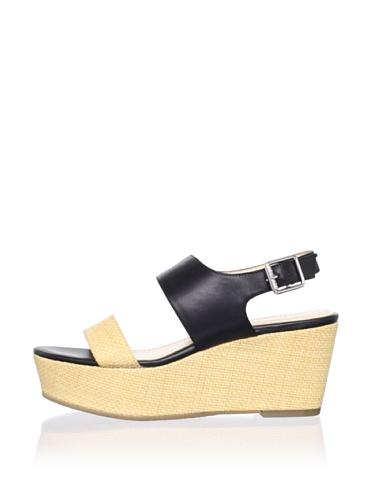 Calvin Klein Women's Lorianne Platform Sandal (Black/Natural)
