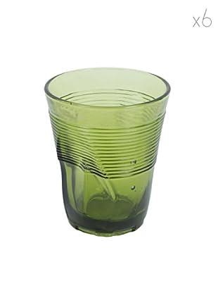 Kaleidos Set 6 Bicchieri Accartocciati 360 ml (Verde)