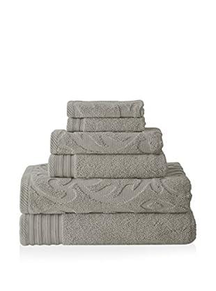 Luxury Home 6-Piece Medallion Swirl Egyptian Cotton Towel Set, Platinum