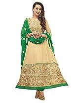 Clickedia Women Faux Gorgette Semi-Stitched Anarkali Suit (EL22011Beige)