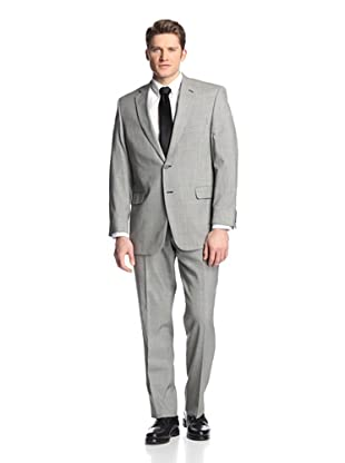 hickey Men's Chalk Striped 2 Button Side Vent Suit (Black)