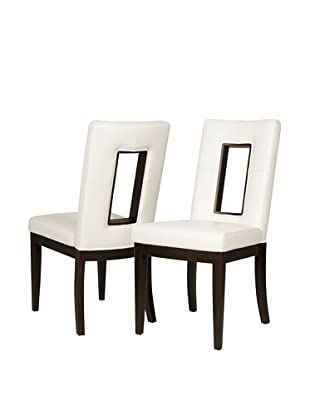 Star International Set of 2 Portico Dining Chairs, White/Dark Walnut