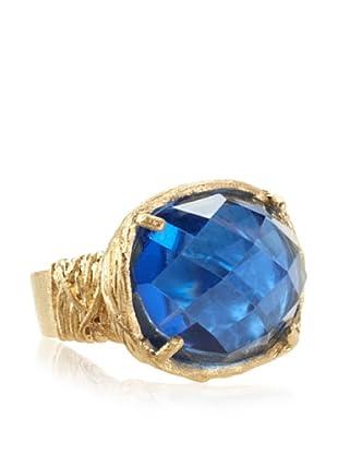 Rivka Friedman East/West Faceted Swiss Blue Topaz Crystal Ring