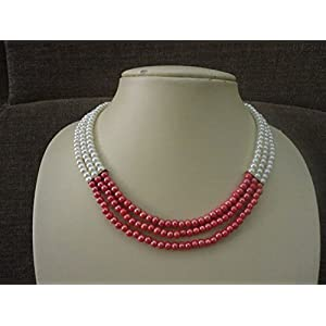 Mona Jewels Three Lined Pink and Pearl Necklace