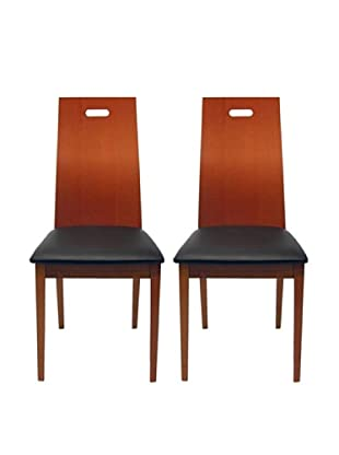 Aeon Set of 2 Boston Solid Beechwood Dining Chairs, Cherry