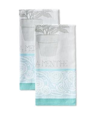 Garnier-Thiebaut Set of 2 Menthe Kitchen Towels, Glacee