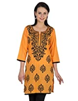 Sohniye Hand Sequenced Cotton Kurta-Orange Color
