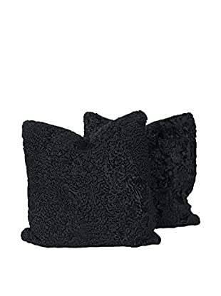 Set of 2 Black Persian Lamb Pillows, 22