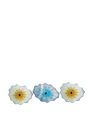 La Meridian 3-Piece Hand-Blown Glass Wall Installation, Turquoise/Blue/Amber