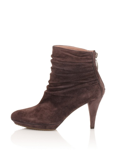 Pura Lopez Women's Ruched Ankle Boot (Brown)