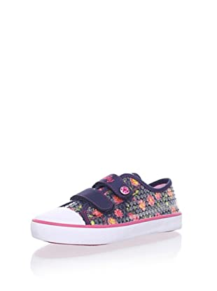Pablosky Kid's Floral Sequin Sneaker (Navy blue)