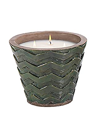 Zodax Clemence Chevron Terracotta Candle Vase, Myrtle
