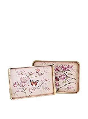 Romantic Style Set Bandeja 2 Uds. Butterfly Multicolor
