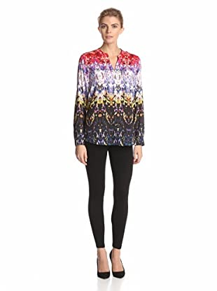 Calvin Klein Women's Printed Roll-Sleeve Top (Black/Citron Jeweled Glass)