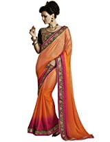 Indian Women Lovely Crepe Jacquard Orange Saree with Blouse