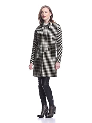 MARNI Women's Checkered Coat (Black/Pale Green)