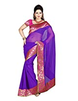 De Marca Purple Chiffon M247 Saree