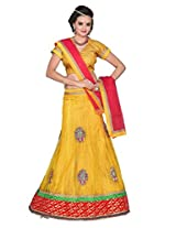 Surupta Yellow Coloured Self Design Women's Lehenga Choli