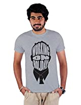 Enquotism Grey Combed Cotton Fabric Round Neck Men Tshirt-L Working on a Holiday Grey -L