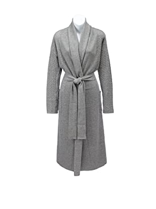Sofia Cashmere Women's Cable-Knit Bathrobe (Heather Grey)