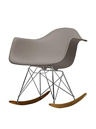 Baxton Studio Miri Plastic Mid-Century Rocking Chair, Grey