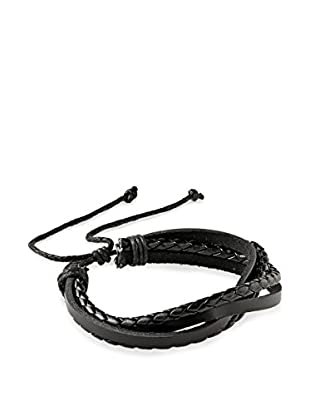 Stephen Oliver Men's Multi Black Leather Woven Bracelet