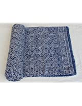 Worldoftextile Cotton indigo blue Quilt★queen/king Size★made with Organic Cotton, Soft and Lightweight; Breathable and Absorbent; Durable and Eco Friendly