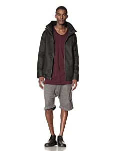 B: Scott Men's Wax Coated Twill Mid Mock Jacket (Black)