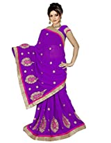 Chinco Embroidered Saree With Blouse Piece (1105-B_Purple)