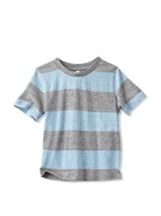 Colorfast Apparel Boy's Heathered Stripe Tee (Sky Blue/Charcoal)