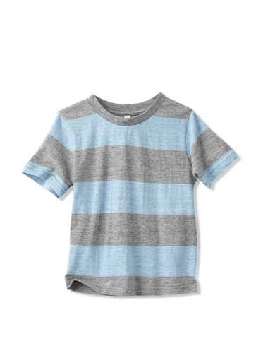 Colorfast Apparel Boy's Heathered Stripe Tee (Sky Blue/Charcoal)