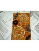 HDP Yellow Polyester & fur Shaggy Carpets (40 cm x 60 cm )