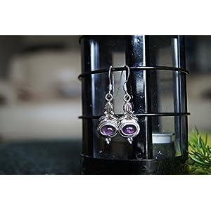 Gajgauri Silver Earrings With Purple Stone