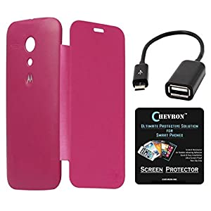Chevron Flip Cover For Moto G 1st Gen With Chevron HD Screen Guard & Micro OTG Cable (Pink)