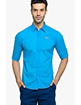 Blue Solid Regular Fit Casual Shirt Status Quo