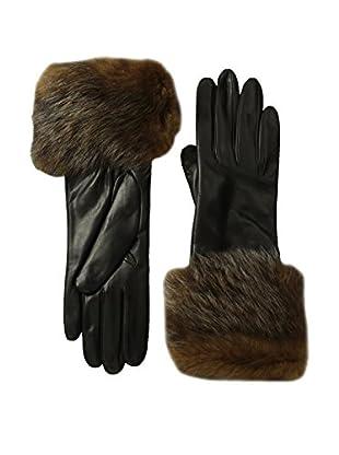 Portolano Women's Cashmere Lined Shearling Cuff Gloves (Black/Sienna)