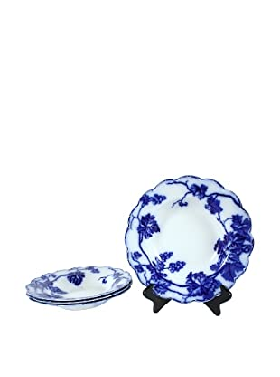 Set of 4 Flow Blue Warwick Rim Soup Bowls, Blue/White
