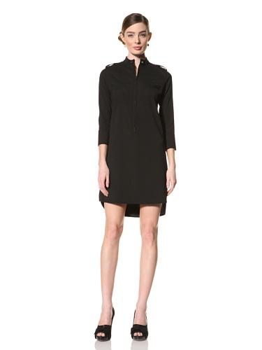 Magaschoni Women's Long Sleeve Shirt Dress (Black)
