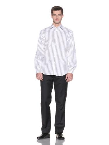 Report Collection Men's Striped Jacquard Shirt (Ecru)