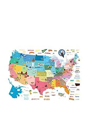 Ambiance Live Wandtattoo United States Map mehrfarbig