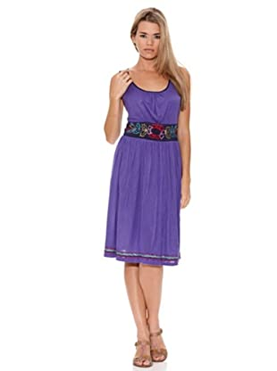 Peace & Love Vestido Liso Crochet Púrpura