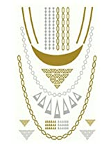 Metallic Gold Silver Black Jewelry Inspired Temporary Bling Tattoo by Eufouria Inc. YW-008