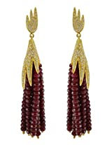Aastha Jain Brown Beads Sterling Silver (18k gold polish) Earring For Women