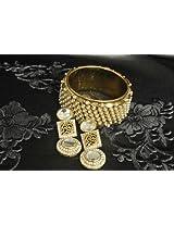 Bangles and bracelets - Gold Plated Handcrafted Kundan Earrings & Pearl Kada
