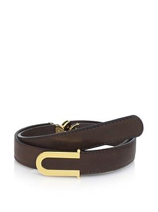MARNI Women's Skinny Belt with Metal Details (Dark Brown)