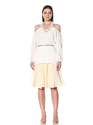 Luca Luca Women's Ariel Gauze Blouse with Beaded Neckline (White/Brown)