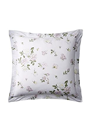 Dea Large Rose Euro Sham, White/Blush